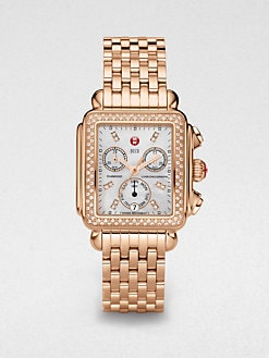 Michele Watches - Diamond Accented Rose Goldtone Chronograph Watch