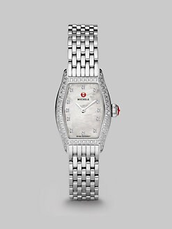 Michele Watches - Diamond Accented Rectangular Stainless Steel Watch