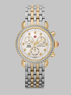 Michele Watches - Diamond Accented Two-Tone Chronograph Watch