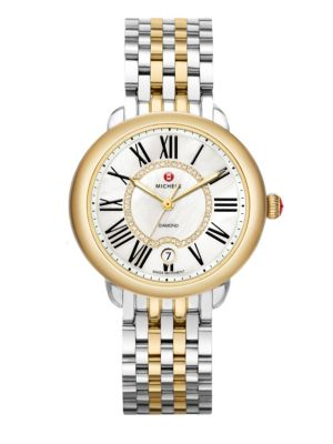 MICHELE WATCHES Serein 16 Diamond, Mother-Of-Pearl, 18K Goldplated & Stainless Steel Bracelet Watch