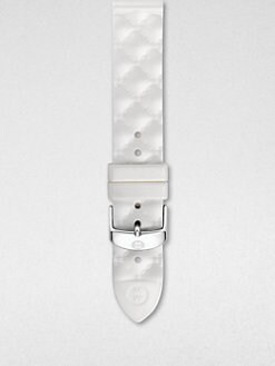 Michele Watches - 18MM White Quilted Leather Strap