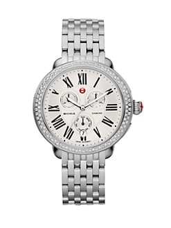 Michele Watches - Diamond Accented Stainless Steel Multi-Function Watch