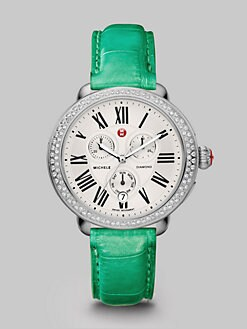 Michele Watches - Diamond Accented Stainless Steel Multi-Function Watch/Jade Alligator