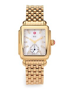 Michele Watches - Diamond & Goldtone Stainless Steel Watch Head