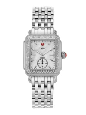 MICHELE WATCHES Deco 16 Diamond, Mother-Of-Pearl & Stainless Steel Bracelet Watch