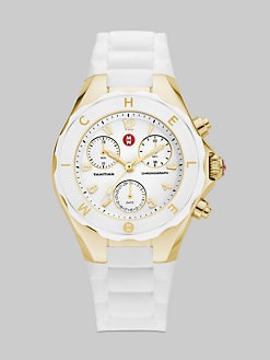 Michele Watches - Tahitian Large Jelly Bean Chronograph Watch/White & Gold