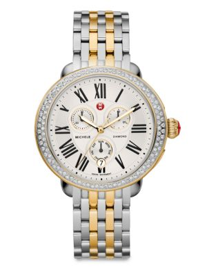 MICHELE WATCHES Serein 18 Diamond, 18K Goldplated & Stainless Steel Chronograph Bracelet Watch