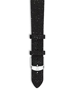 Michele Watches - 18MM Crystal & Leather Watch Strap