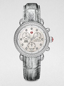 Michele Watches - Diamond & Alligator Stainless Steel Chronograph Watch