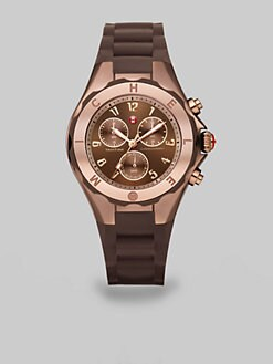 Michele Watches - Silicone & Rose Goldtone Stainless Steel Chronograph Watch