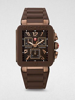 Michele Watches - Silicone & Brown IP Stainless Steel Chronograph Watch