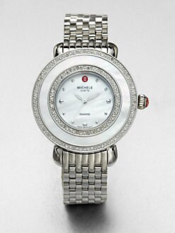 Michele Watches - Cloette Diamond and Stainless Steel Round Bracelet Watch