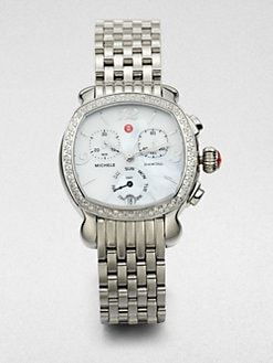 Michele Watches - Lilou Diamond and Stainless Steel Rounded Square Bracelet Watch
