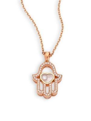 Happy Diamonds Pave Hamsa Hand Diamond & 18K Rose Gold Pendant Necklace