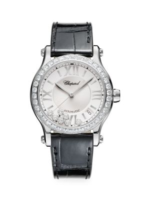 Happy Sport Stainless Steel, Diamond & Alligator-Strap Watch