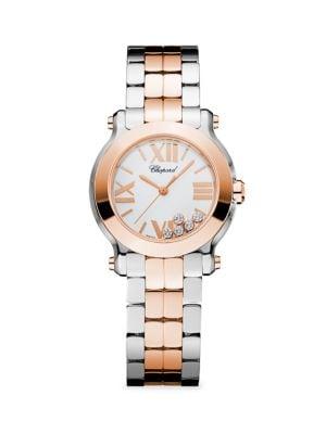 Happy Sport Mini New Generation 18K Rose Gold, Stainless Steel & Diamond Bracelet Watch