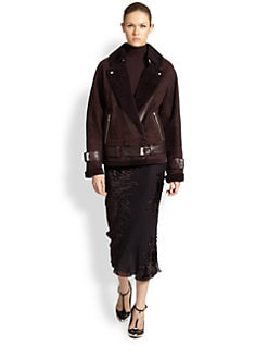 Jason Wu - Leather-Trimmed Shearling Motorcycle Coat