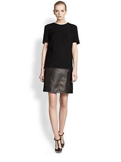 Jason Wu - Leather & Wool Crepe Dress