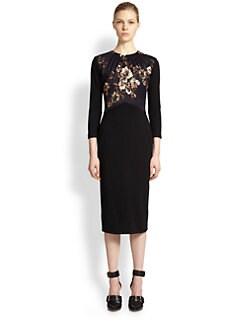 Jason Wu - Satin & Crepe Floral-Panel Dress