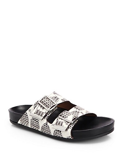 Barka Snake-Embossed Leather Sandals