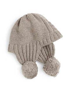 Portolano - Toddler's Cable-Knit Pom-Pom Earflap Hat