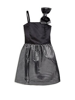 ABS - Girl's Jacquard & Satin Bow Detail Dress