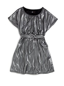 ABS - Girl's Metallic Tie Waist Dress/Silver
