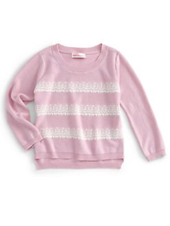 Design History - Toddler's & Little Girl's Lace Stripe Sweater