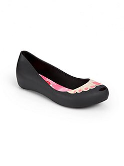 Mini Melissa - Infant's, Toddler's, & Girl's Ronaldo Toe-Print Ballet Flats