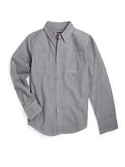 7 For All Mankind - Boy's Cotton Chambray Button-Front Shirt