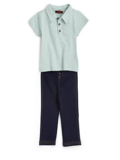 7 For All Mankind - Infant's Two-Piece Polo Shirt & Denim Set