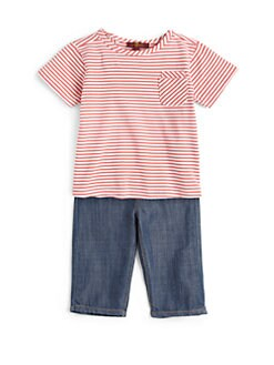 7 For All Mankind - Infant's Two-Piece Striped Top & Denim Set