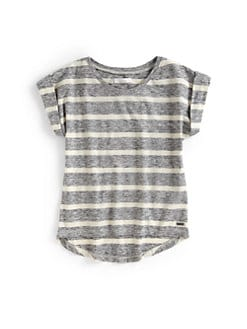 7 For All Mankind - Girl's Heathered Stripe Tee