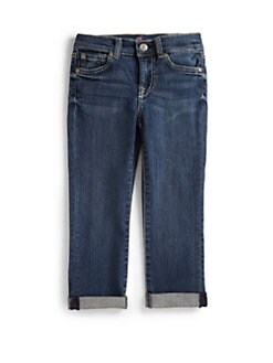 7 For All Mankind - Girl's Skinny Crop & Roll Denim Jeans