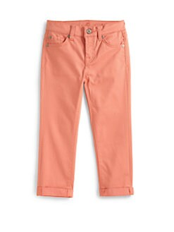 7 For All Mankind - Girl's Skinny Crop & Roll Pants/Coral
