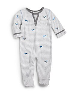 Petit Lem - Infant's Cotton Striped Airplane Footie