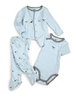 Petit Lem - Infant's Cotton Dinosaur Three-Piece Set