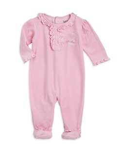 Petit Lem - Infant's Velour Ruffle Detail Footie