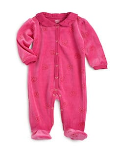 Petit Lem - Infant's Velour Hearts Footie