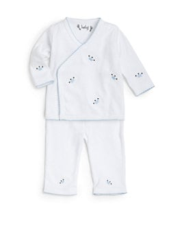 Margery Ellen - Infant's Pima Cotton Crown Embroidery Two-Piece Set/Blue