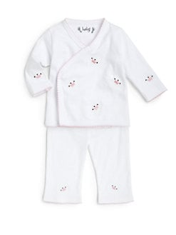 Margery Ellen - Infant's Pima Cotton Crown Embroidery Two-Piece Set/Pink