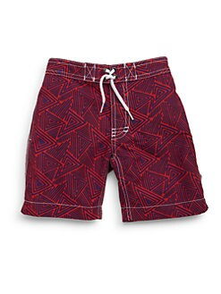 Trunks - Toddler's & Little Boy's Triangle-Print Swim Trunks