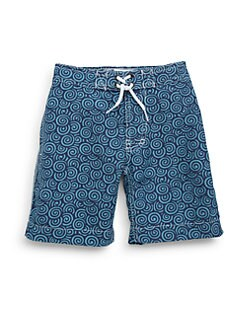 Trunks - Toddler's & Little Boy's Swirl-Print Swim Trunks/Blue