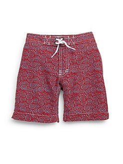 Trunks - Toddler's & Little Boy's Swirl-Print Swim Trunks/Red