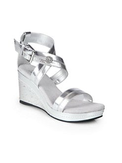 Stuart Weitzman - Girl's Alabaster Wedge Sandals/Silver