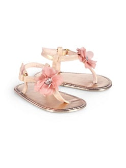 Stuart Weitzman - Infant's Baby Silk Thong Sandals/Rose Gold