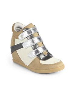 Stuart Weitzman - Girl's Lift Off Wedge Sneakers/Sand