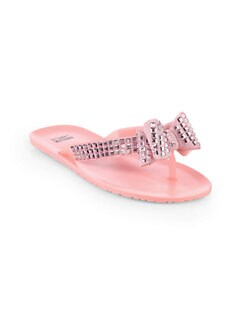Stuart Weitzman - Rosaline Studded Jelly Flip Flops/Pink