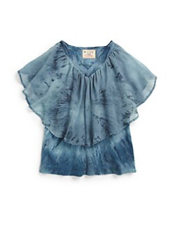 Young Gypsy05 - Girl's Tie-Dyed Ruffle Top/Blue