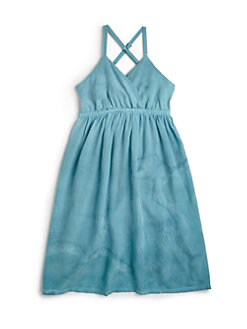 Young Gypsy05 - Girl's Tie-Dyed Silk Dress/Blue